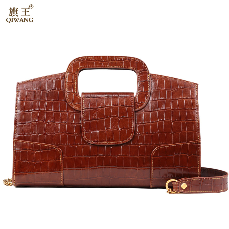 QIWANG Classic Fasion Lady Clutch Handbag and Purse Vintage Crocodile Leather Bag for Women High Quality Brown Party Bag