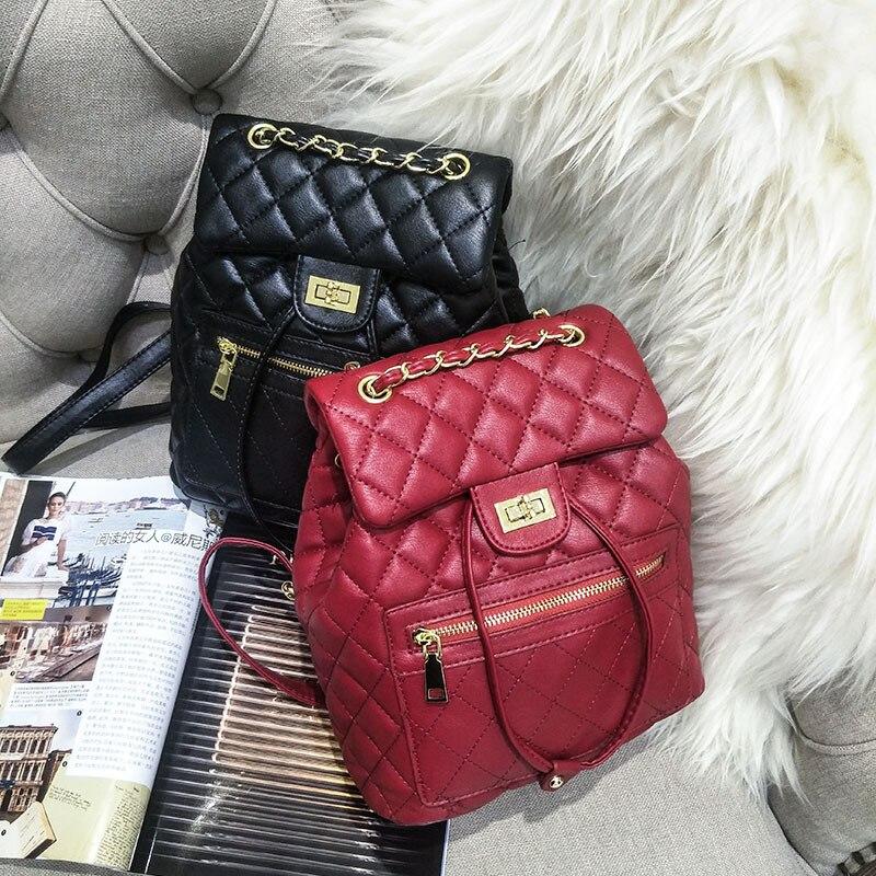 купить Luxury Brand Design Leather Women Backpack Diamond Lattice Black red Fashion Female Chain Backpack Lady Shoulder Bag Thread недорого
