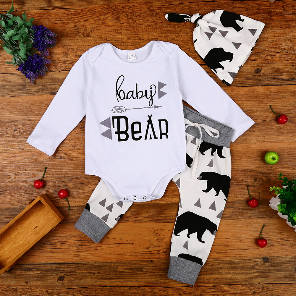 3PCS Newborn Baby Clothing Set Printed Boys Girls Tops Romper + Pants + Hat Outfits Set Christmas Clothes Suit
