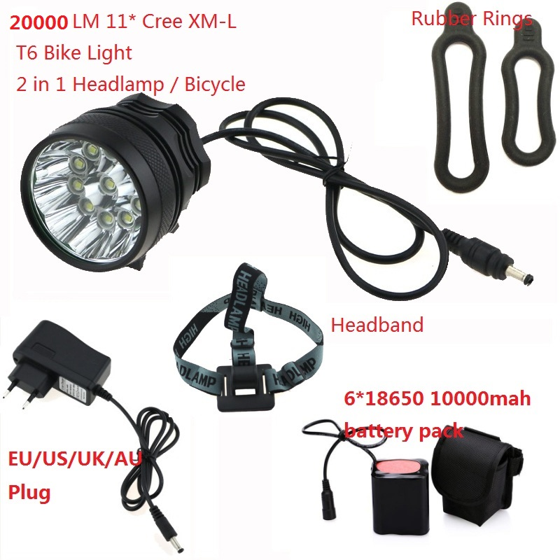 2 in 1 Headlamp Headlight 20000 Lumens 11 x Cree XM-L T6 LED Bicycle Light Cycling Bike Head Lamp + 18650 Battery Pack+Charger 15000 lumen 9x cree xm l2 led 5modes cycling head front bicycle light bike lamp headlamp 4x18650 battery pack charger