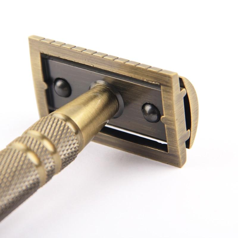 Купить с кэшбэком YINTAL Men's Bronze Classic Double-sided Manual Razor Long Handle Safety Razors Shaving Replaceable Classic Razors