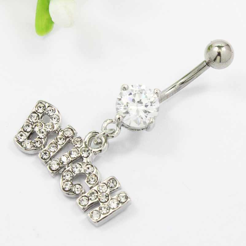 Belly button ring Dangle Letter Clear and Pink BITCH body piercing navel ring surgical steel bar Nickel-free Free sipping