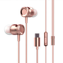 Usb-C Wired Metal Earphone, Earbuds In-Line Control Headset For Xiaomi 6 Note 3 Mix 2 Letv Leeco Le Smartisan Pro