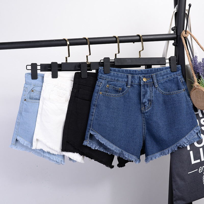 Summer Pocket Denim Shorts For Women Fashion Button Shorts Casual Denim Hot Jean High Waist Shorts Large Size 2XL 1009