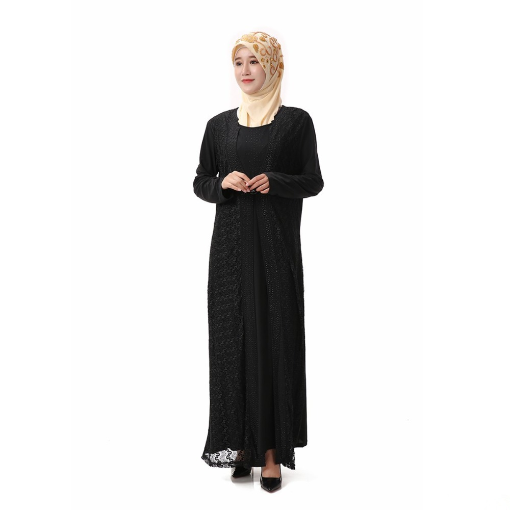 Islamic Women's Black Lace Abayas Muslim Long Fashion Dress Arabic Dubai Turkish Women Spring Clothing