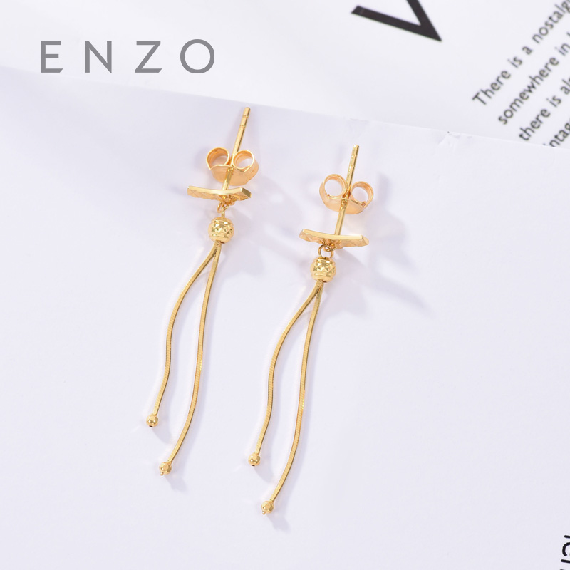 Enzo Real 18K Gold Earring Fine Jewelry Women Miss Girls Gift Party Female Drop Earrings Solid Hot Sale New Good Ethnic real 18k gold jewelry heart earring women miss girls gift party female ear wire drop earrings solid hot sale new good trendy