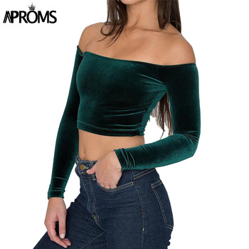 Aproms Elegant Off Shoulder Velvet Crop Top Women Fashion 2018 Long Sleeve Stretch Cropped Tank Top Female Autumn Soft Camis Tee Top