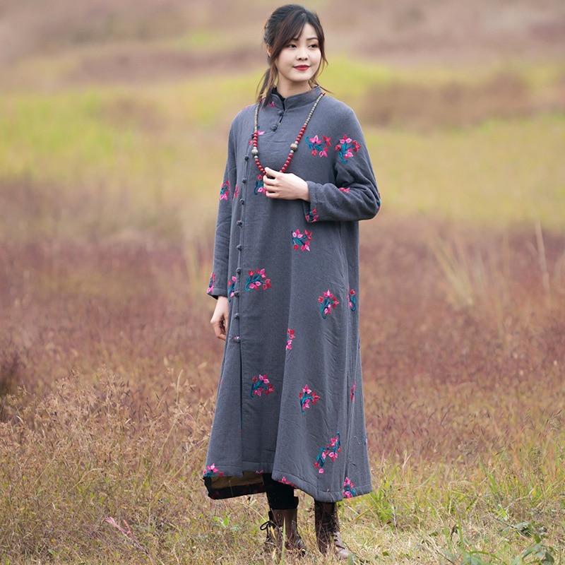 559049ec1d8 D hiver Broderie Femmes Vent Robes Nouveau Coton Plaque Originale De Bouton  Nationale Rétro Manteau Marron ...