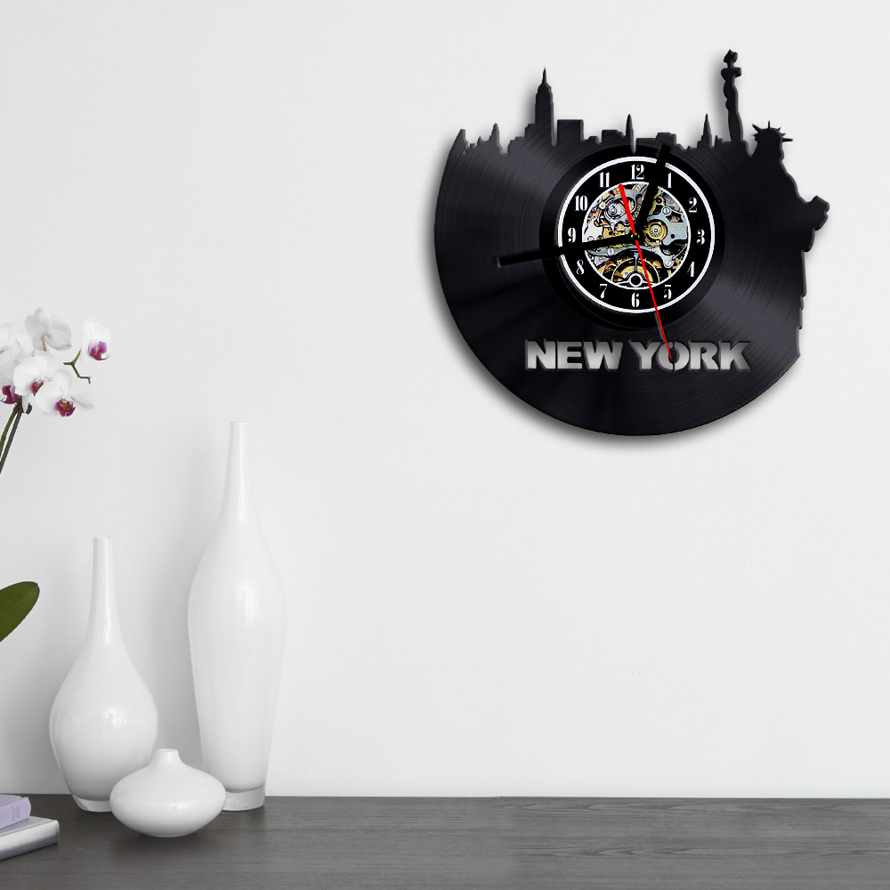 Free shipping 1piece new york city sightseeing vinyl wall clock free shipping 1piece new york city sightseeing vinyl wall clock personality art handmade time clock creative room decroations in wall clocks from home amipublicfo Gallery