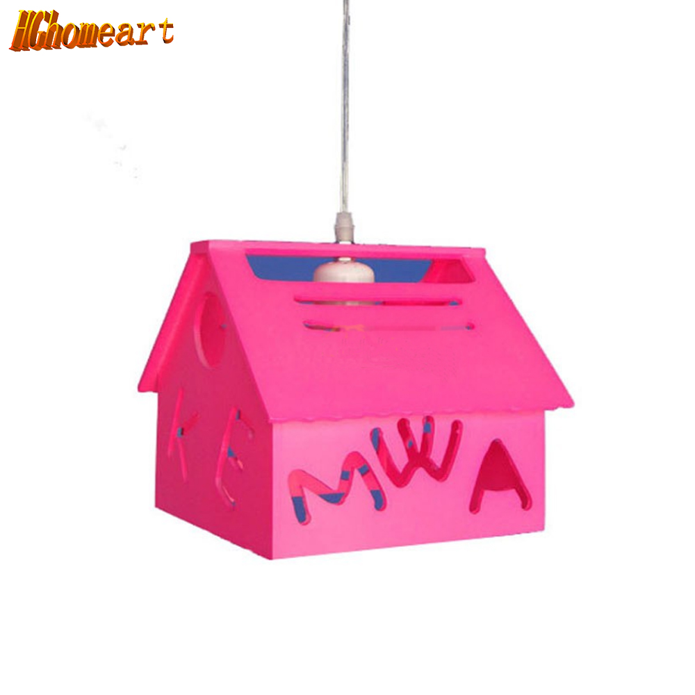 Hghomeart Kids Room Bedroom  Pendant Lamp  LED Modern Simple Light Country Style Lighting Pink Small House Pendant Light hghomeart kids led pendant lights basketball academy lights cartoon children s room bedroom lamps lighting