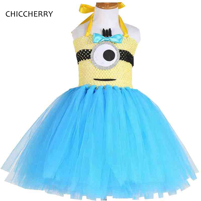 Colorful Despicable Me Kids Clothes Minion Lace Children Girl Dress Halloween Cosplay Costume Vestido Infantil Toddler Outfits despicable me unicorn minion stuffed
