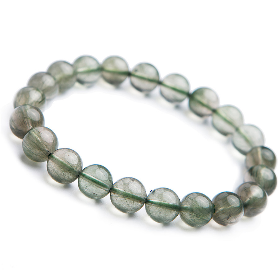 Genuine Natural Green Rutilated Quartz Fashion Women Femme Charm Stretch Round Crystal Bead Trendy Stone Bracelet 2018 Newly trendy letter heart round rhinestone bracelet for women