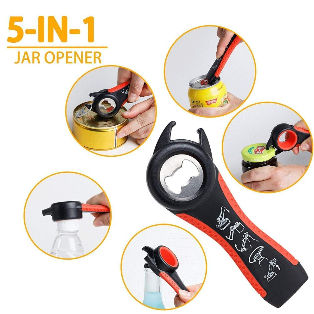 5 In 1 Multi-function Stainless Steel Plastic Bottle Opener Non-Slip Cap Grip Beer Lid Twist Off Jar Can Opener For Kitchen Cans