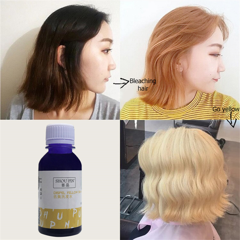 No Yellow Shampoo Purple Shampoo Toner For Silver Blonde Bleached Gray Hair Dye Remove Yellow Anti Brassy Color Protecting 100ml