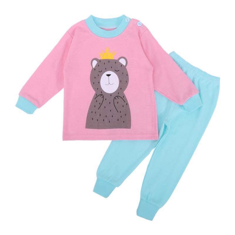 2pcs Kids Baby Pajamas Set Boys Girls Clothes Set Spring Autumn Cartoon Bear Long Sleeve Tops + Pants Sleepwear