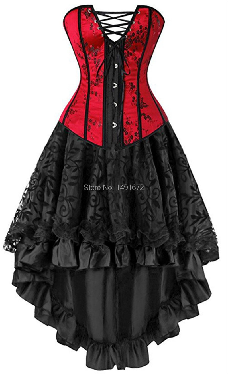 Sapubonva sexy corsets for women plus size costume overbust burlesque corset  and skirt set tutu corselet victorian red plus size 8e00934947c8