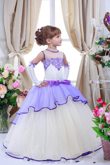 Us 1090 Romantic Lilac Flower Girl Dresses For Weddings Jewel Neck Tulle Floor Length Lace Appliqued Kids Formal Pagenat Gowns Plus Size In Flower