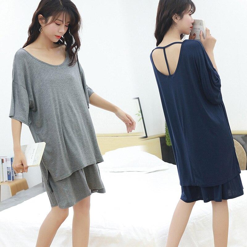 Clothing Pants Pyjamas Shorts-Suits Wear Home-Set Plus-Size Casual Shirt Women