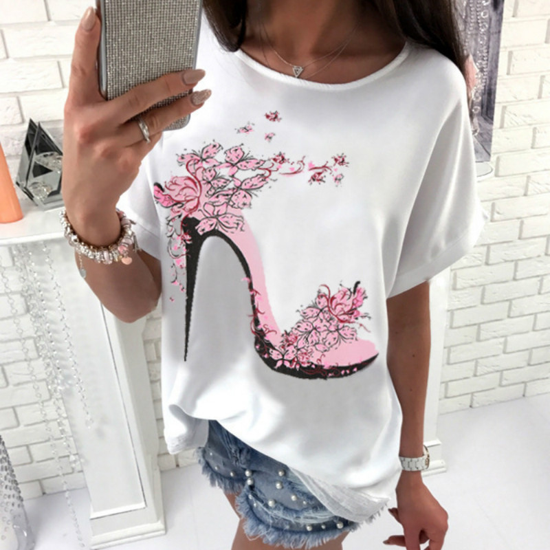 2019 Summer T shirts Casual Female O neck Batwing Short Sleeve Printed T Shirts Plus Size 3XL Loose Tees Women Tops White Shirt in T Shirts from Women 39 s Clothing