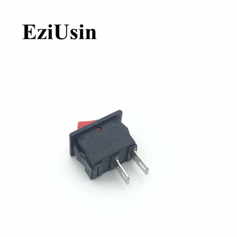 1pcs On-Off KCD11 2Pin 2P Nero Rosso Barca Auto Rocker Switch 3A 250V 6A 125V AC Pulsante KCD1-11 10*15 10x15 KCD117