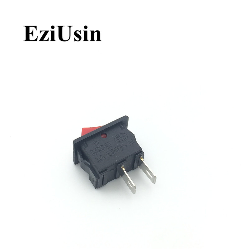 1pcs On-Off KCD11 2Pin 2P Black Red Boat Car Rocker Switch 3A 250V 6A 125V AC Button KCD1-11 10*15 10x15 KCD117 10pcs kcd11 101 3a 250v small black 10 15mm spst 2pin on off g130 boat rocker switch car dash dashboard truck rv atv home