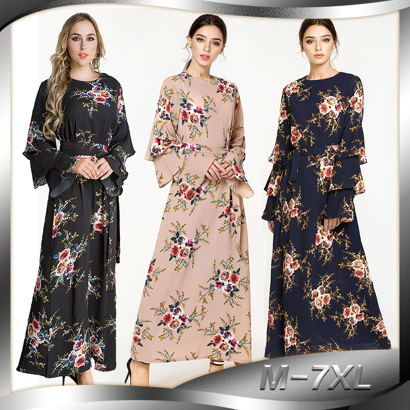 Muslim Dubai section 2018 hot drilling robe Middle East large size women s clothing