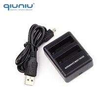 QIUNIU podwójny Port ładowarka stacja do ładowania dwa ładowania baterii fala dla GoPro Hero 4 AHDBT 401 bateria z USB kabel