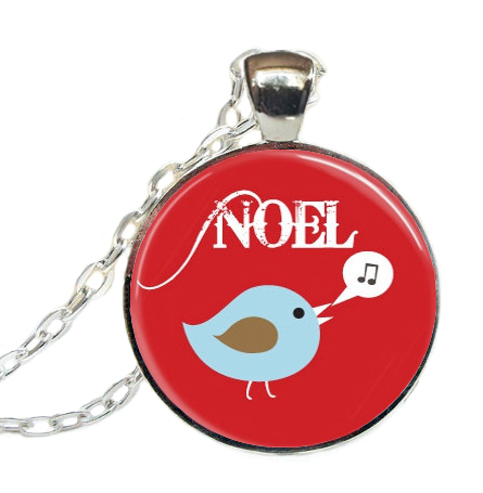 New Trendy Bird Necklace Noel Songbird Pendant Glass Cabochon Necklaces Round Picture Pendants Christmas Art Jewelry Gifts