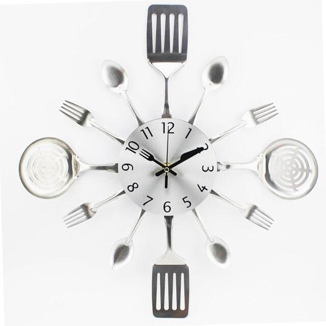 US $11.47 30% di SCONTO|Posate Disegno 3D Smontabile Moderna Posate Da  Cucina Cucchiaio Forchetta Orologio Da Parete A Specchio Della Parete Della  ...