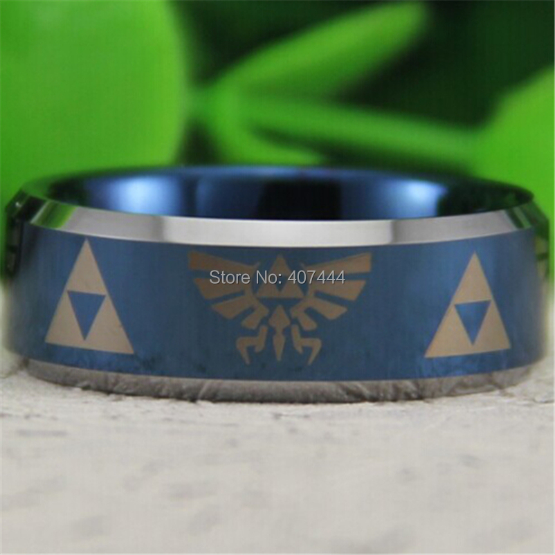 Free Shipping USA UK Canada Russia Brazil Hot Sales 8MM Blue Silver Bevel Comfort Fit Legend