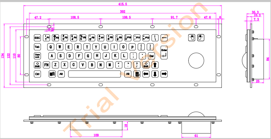Teclado de acero inoxidable Teclado quiosco de metal con teclados - Periféricos de la computadora - foto 2