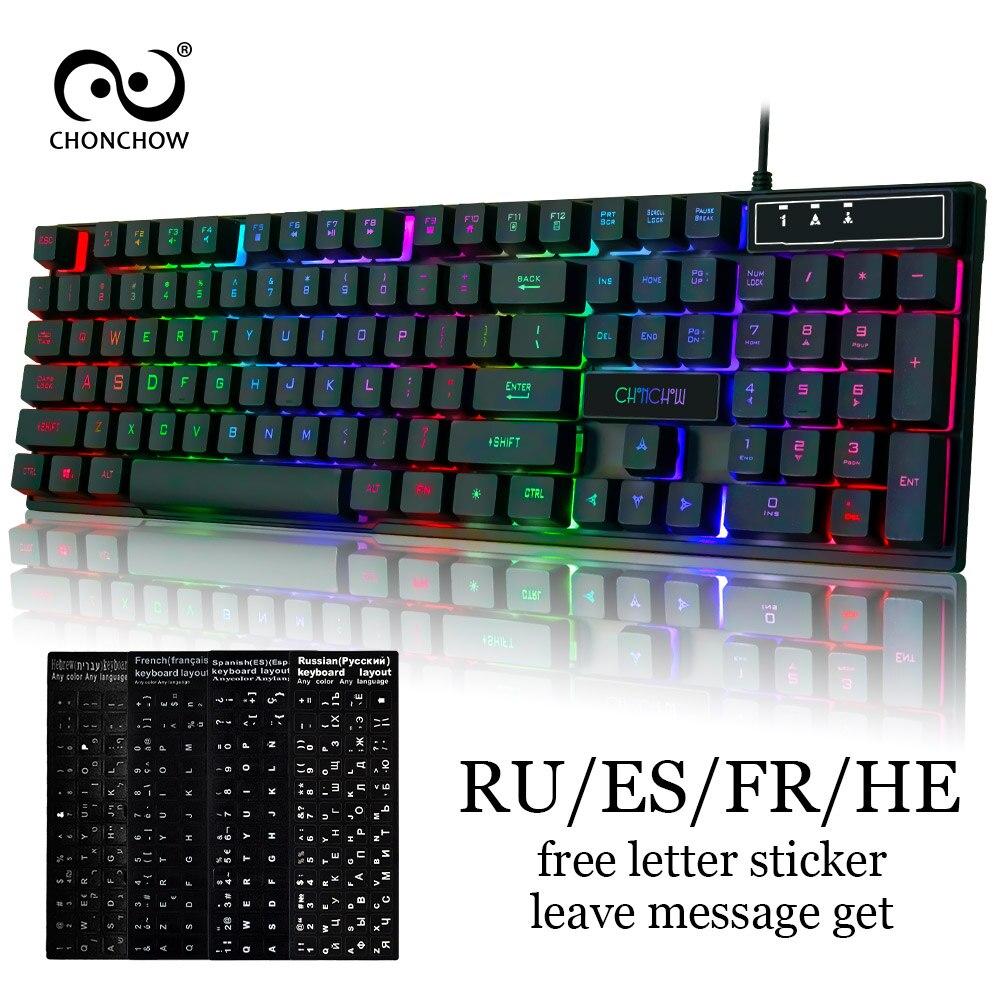 Rainbow Retroiluminado Gaming Keyboard Teclado Colorido Livre RU/ES/FR/ELE Gamers Adesivo Layout de Teclado USB Com Fio mecânica Feelling