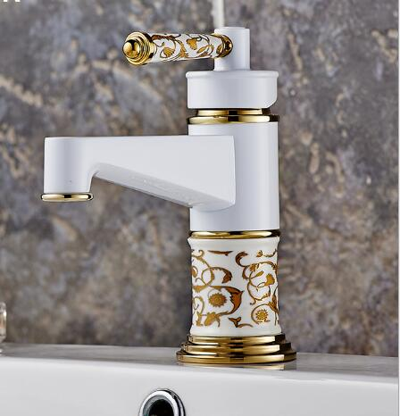 European design basin faucet high quality gold and white with ceramic handle water mixer bathroom sink faucet New basin tap vertu signature s design white gold реплика москва