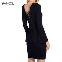 Vancol Slim Flare Sleeve Sexy Back Lady Lace Up Dress Elastic Knitted Autumn Dresses Side Slit