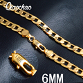 Старинные Долго Золотая Цепочка Для Мужчин Цепи Ожерелье Новый модные 18 К 6 мм Настоящее Позолоченные Толстые Чешские Ювелирные Изделия Colar оптовая