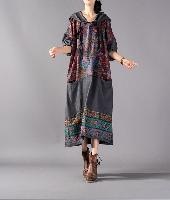 Women Hooded Print Dress...
