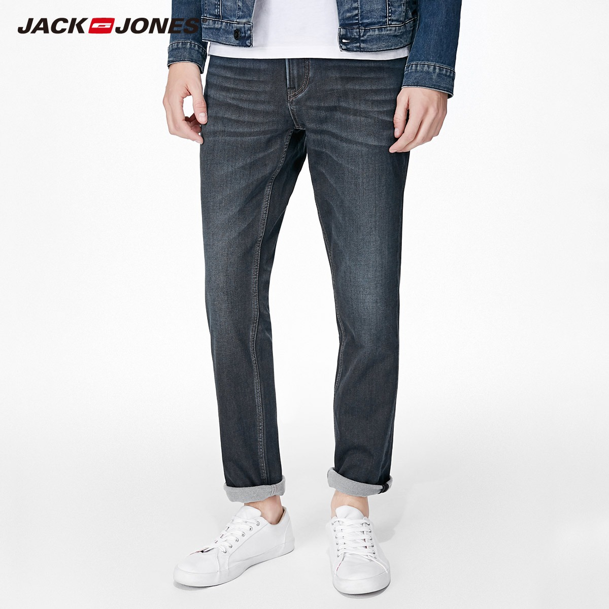 e906b1fb10a JackJones 2018 Brand New Men s Elastic Cotton Stretch Jeans Pants Slim Fit  Denim Trousers Men s Biker