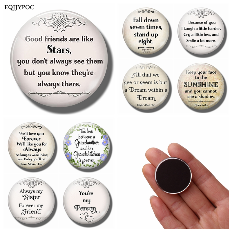 Family Friend Lover Friendship Gift Funny Quotes 30MM Glass Dome Refrigerator Magnets Alphabet Magnetic Letters Stickers Message image