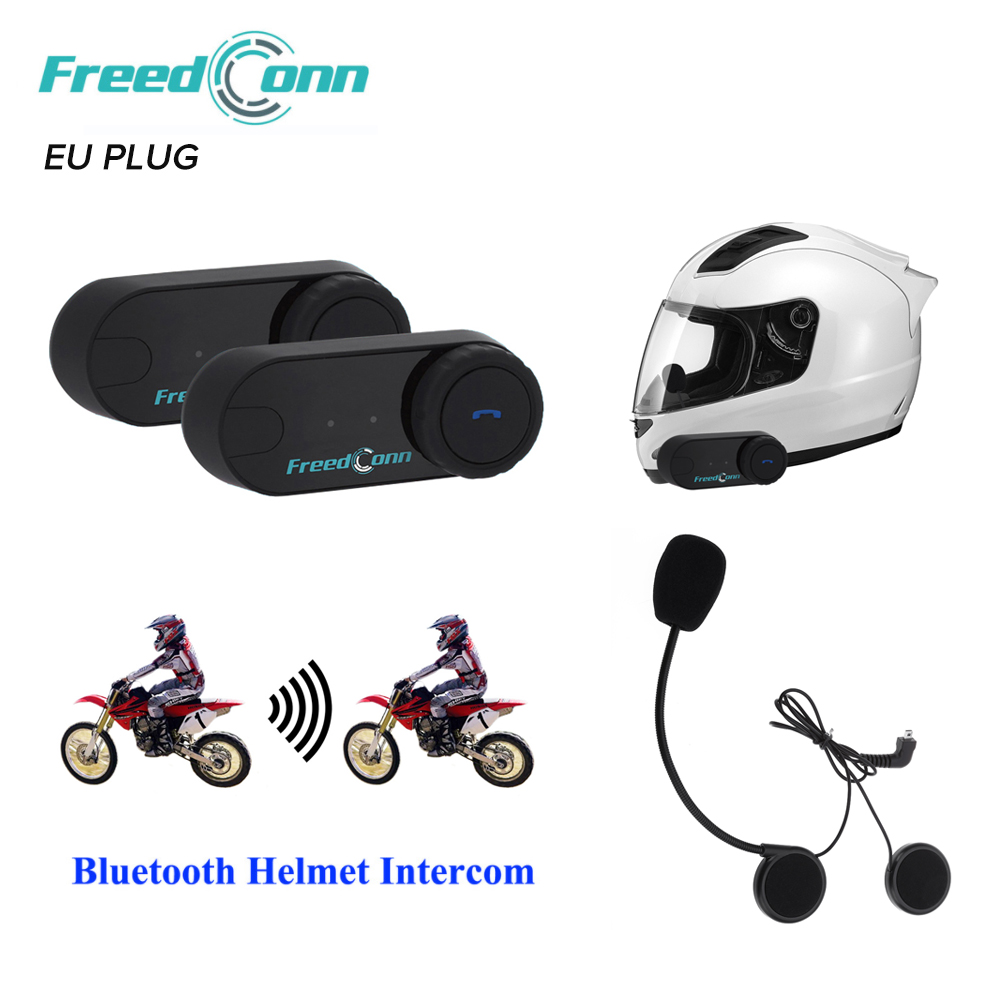 2 pièces écouteur de casque de moto d'interphone Bluetooth d'interphone de T-COM VB 800 M avec la prise de l'ue prend en charge A2DP et AVRCP