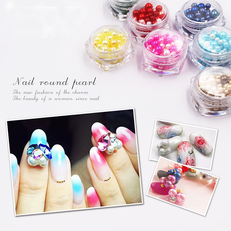 New 12 colors/set Korean fashion 3D high shining round big pearls Nail Art shell pearls decoration ball pearls nail charms kit high tech and fashion electric product shell plastic mold