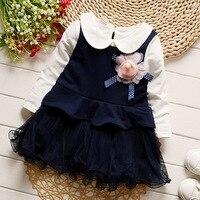 Iairay cô gái quần áo toddler girl royal blue đảng dresses trắng dài tay áo peter pan áo dễ thương flower trẻ sơ sinh lưới dress