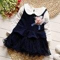 Iairay chicas ropa del niño niña azul real vestidos de fiesta blanca de manga larga de peter pan camisa linda flor infantil mesh dress