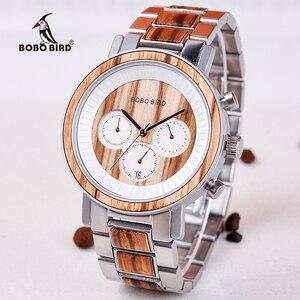 Image 2 - BOBO BIRD luxury Stainless Steel Wood Watches Men Chronograph Date Display Quartz Wristwatches Relogio Masculino Dropshipping