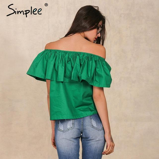 Simplee Apparel Sexy slash neck ruffles women tops tees Off shoulder beach summer style tops Women blouses shirt party tube top