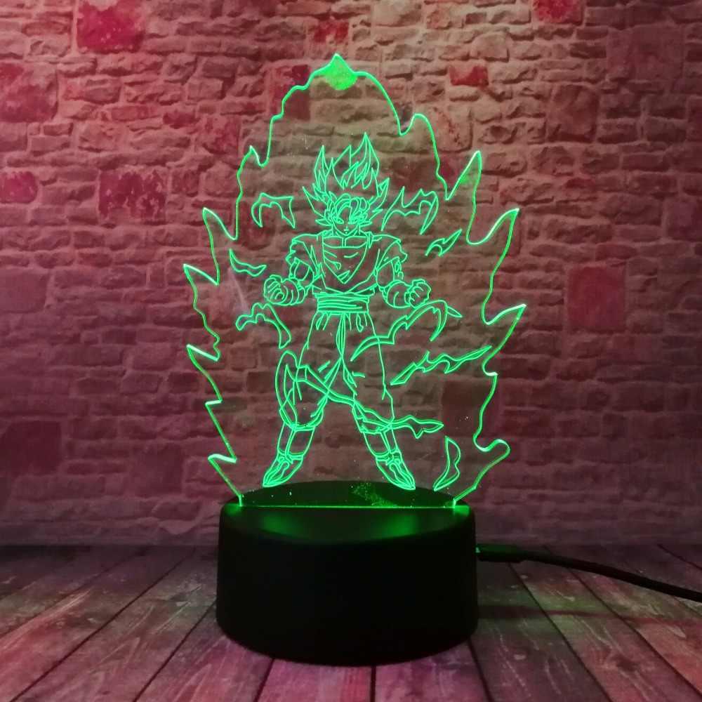 Dragon Ball Z Super Saiyan God экшен-фигурка Гоку 3D настольная лампа 7 цветов, меняющий светодиодный ночник, детская игрушка для сна, рождественские подарки
