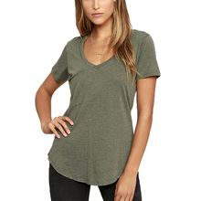 Womens Sexy Deep V-Neck Short Sleeves Tunic Tops Patch Pocket Front Slub Texture T-Shirt Pullover Asymmetric Loose  S-3XL