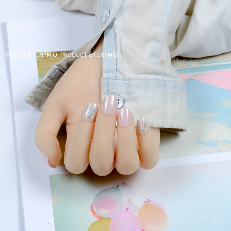 Short fake nails brown cross sweater pattern artificial nail tips