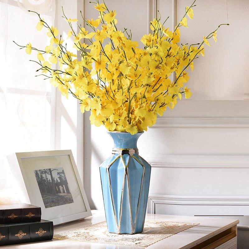 US $89.0 50% OFF|Moderne Keramik Blumen Vase Diamant Geformte Vase Kreative  Zimmer Dekoration Wohnzimmer Weinschrank TV Arche Keramik Dekoration-in ...