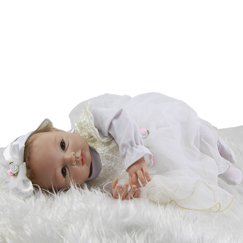 22 Inch New Style Reborn Silicone Baby Dolls 55 CM Lifelike Newborn Princess Girl Babies Cloth Body Doll Toy With Magnetic Mouth