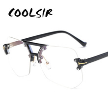 COOLSIR Fashion Clear Transparent Glasses Frames for Women Men 2019 Male Spectacle Rimless Irregular
